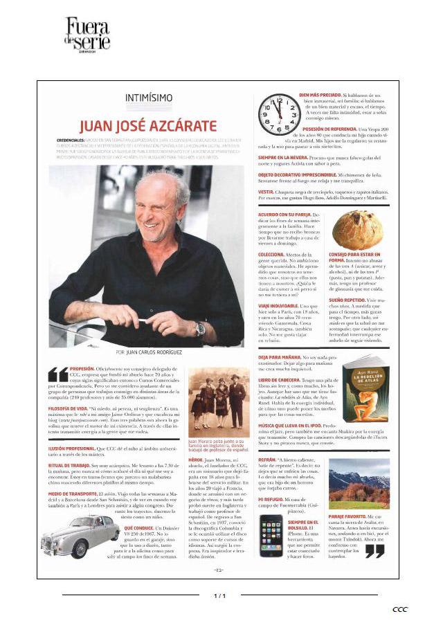 Intimísimo: Juan José Azcárate. Expansión 18/06/2010